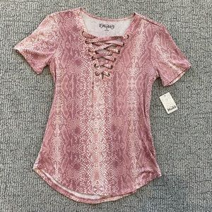 Soft Snake Print Lace Front Top
